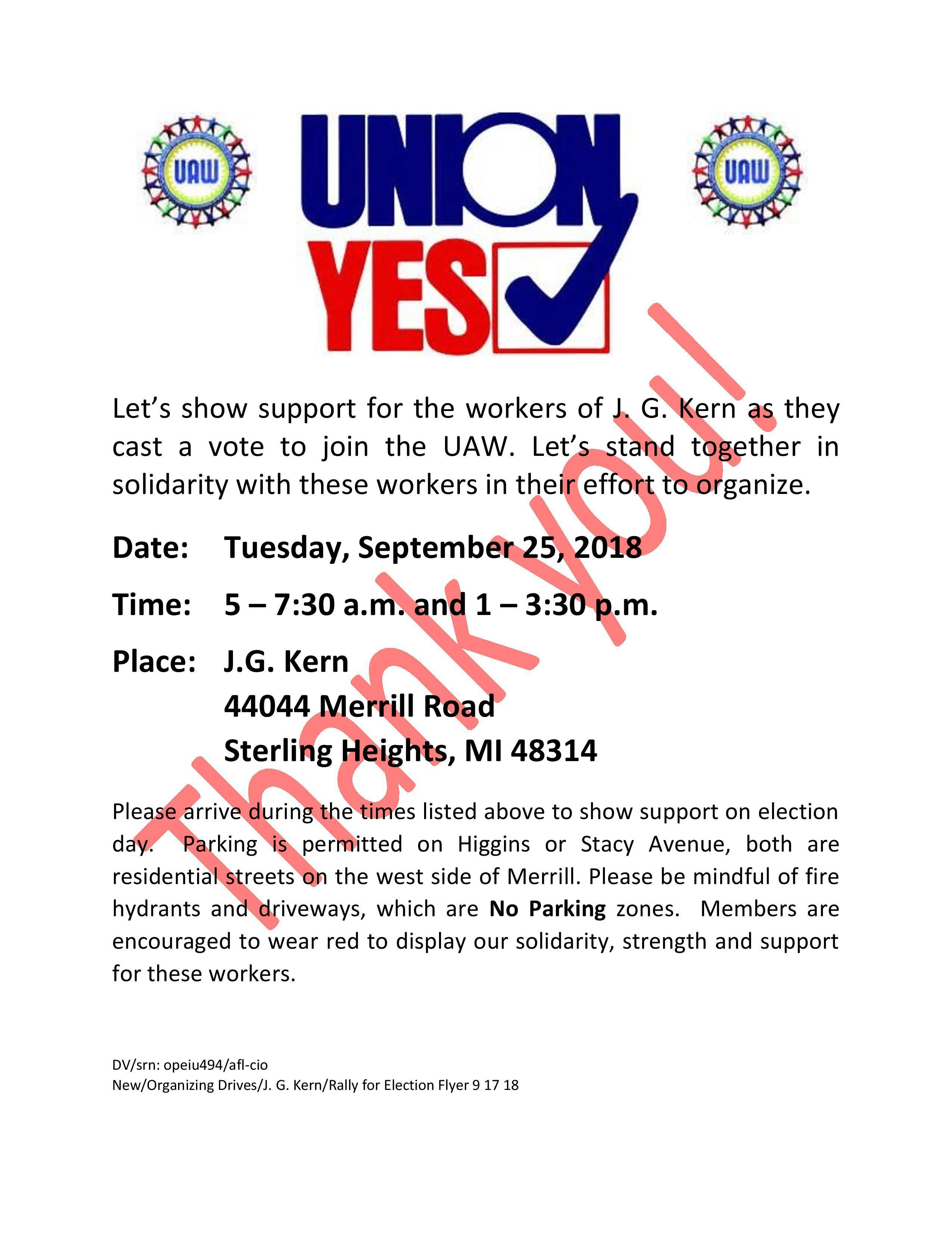 Welcome J G  Kern Workers to the UAW! | UAW Region 1